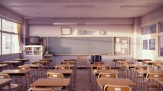 Classroom (Evening A) by iCephei on DeviantArt Aesthetic Backgrounds, Aesthetic Wallpapers, Deviantart, Japanese High School, Aesthetic Japan, School Hallways, Living Room Background, Dream School, School Building