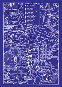 1949 Vintage Map of Downtown Tokyo Japan 20x30 Blueprint Print Poster. $29.95, via Etsy.