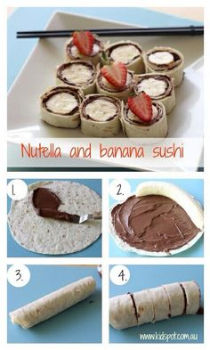 it: messy and better for at home lunch Nutella and banana sushi. maybe an alternative to nutella? i just don't like nutellaMade it: messy and better for at home lunch Nutella and banana sushi. maybe an alternative to nutella? i just don't like nutella Nutella Recipes, Snack Recipes, Dessert Recipes, Cooking Recipes, Nutella Snacks, Sushi Recipes, Kraft Recipes, Party Desserts, Party Snacks