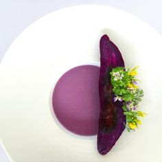 Sweet purple potato ginger soup with baked sweet potato • ซุปมันม่วงกับขิง และ มันม่วงอบ