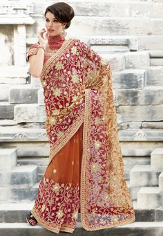 Pink and Orange Net Saree With Blouse.