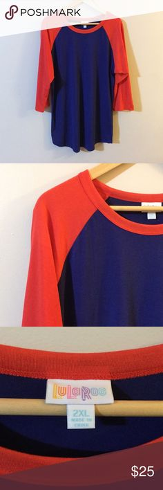 LuLaRoe LLR Randy Baseball Tee Red Blue 2XL On sale is a women's LuLaRoe LLR Randy Baseball tee in the colors red and blue. It is a size 2XL. The tee is in good, used condition.   The measurements are approximations Length (Shoulder to hem)- about 30 1/4 inches  Width (Pit to pit)- about 22 1/4 inches LuLaRoe Tops