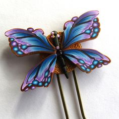 Butterfly Hair Pin, Polymer Clay Butterfly, Hair Accessory by Claybykim on Etsy