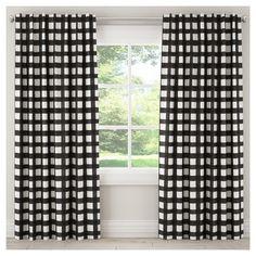 "Blackout Buffalo Check Curtain Panel Black (50""x108"")"