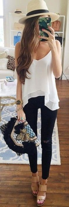 #spring #outfits Bright Hat + White Tank + Black Ripped Skinny Jeans