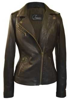 Faneema Women's Riva Moto Leather Jacket, Espresso Brown