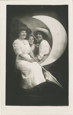 Happy Mother and Daughters on a Paper Moon - Real Photo Postcard | Flickr - Photo Sharing!