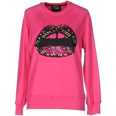 Markus Lupfer Sweatshirt ($200) ❤ liked on Polyvore featuring tops, hoodies, sweatshirts, fuchsia, fuschia pink tops, markus lupfer, rhinestone sweatshirts, fuschia top and patterned tops