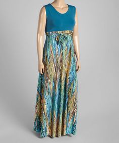 Another great find on #zulily! Teal & Brown Chevron Maxi Dress - Plus #zulilyfinds