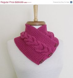 MOTHERS DAY SALE Fuchsia Ivy Neckwarmer with by knittingshop, $23.40