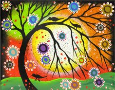 Folk Art Painting | Folk Art Original Painting Birds Tree of Life Whimsical Mexican Lori ...