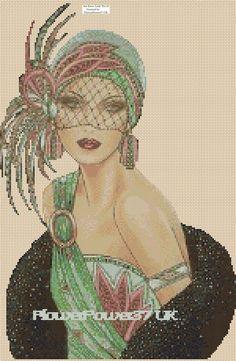 Cross stitch chart Art Deco Lady 33 FlowerPower37-UK-..free uk P&p......