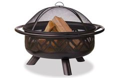 Blue Rhino W Bronze Steel Wood-Burning Fire Pit at Lowe's. Bring the warmth and ambiance of a fireplace to your patio, deck or backyard with this UniFlame outdoor fire pit. With its popular geometric design, this Wood Fire Pit, Wood Burning Fire Pit, Fire Pit Patio, Fire Pit Table, Backyard Patio, Backyard Ideas, Garden Ideas, Firepit Ideas, Wood Patio