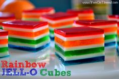 Rainbow Jello Cubes are so easy to make and are perfect for St. Patrick's Day or any day you want to bring a smile to someone's face! The perfect treat! Great for parties too! // Mom On Timeout Jello Desserts, Jello Recipes, Dessert Salads, Just Desserts, Delicious Desserts, Dessert Recipes, Yummy Food, Rainbow Desserts, Diabetic Desserts