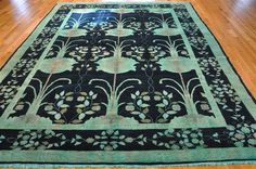 WILLIAM MORRIS DESIGN 6' x 9' OVERDYED MODERN ORIENTAL AREA RUG | Fine Wool Rugs 6'x9' $1820. Midnight Blue with ivory, beige, peach, gold and light green.