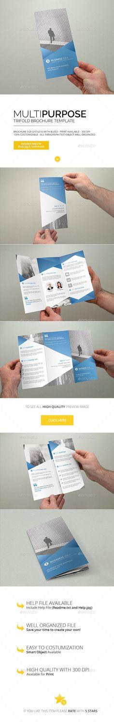 Multipurpose - Trifold Brochure Template #design Download: http://graphicriver.net/item/multipurpose-trifold-brochure-template/13005765?ref=ksioks