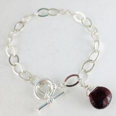 Garnet Gemstone Sterling Silver Toggle Bracelet EE by eedesigns05
