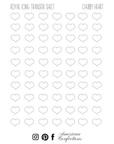Use American Confections transfers for sprinkles and cookie decorations. Piping Templates, Royal Icing Templates, Royal Icing Transfers, Butterfly Template, Heart Template, Royal Icing Piping, Dessert Decoration, Decorations, Valentines Sweets