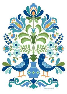 Hungarian Folk Art Blue Birds Hungarian Folk Art Print This is an image created in Adobe Illustrator and inspired by the beautiful folk designs of Hungary. The image is printed on museum quality fine art paper. Choice of three print sizes: 5 Hungarian Embroidery, Folk Embroidery, Learn Embroidery, Embroidery Patterns, Folk Art Flowers, Flower Art, Red Flowers, Red Roses, Art Floral