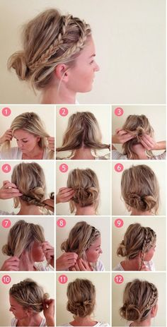 15 Fresh Updo's for Medium Length Hair - Hair & Makeup - Bridal Hairstyles With Braids, Braided Hairstyles Tutorials, Pretty Hairstyles, Easy Hairstyles, Updo Hairstyle, Hairstyle Ideas, Style Hairstyle, Wedding Hairstyles, Wedding Updo