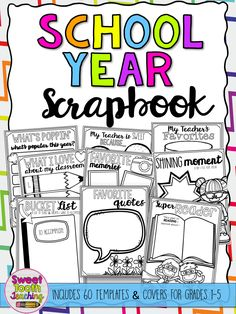 "Scrapbook includes everything your students need to make their school year memorable! This 62-page scrapbook includes: - 1st-5th Grade Cover pages (B&W) - My School Year Cover page (Color & B&W) -My Portrait -About Me -My Favorites -Yearbook-""My Friends"" -Class List -Class Superlatives -Meet My Teacher -Teacher Favorites My Teacher is Sweet because..."" -My Classroom Map -""What I Love About my Classroom"" -""I Will Miss..."" -""This Year I Learned"" -Our Class Pet -Favorite Memories..."