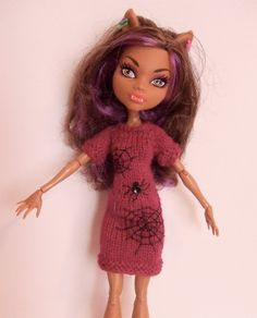 Monster High Doll Hand Knit Magenta Wool Slim by StorybookBlythe