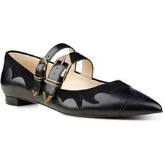 Nine West Alina Pointy Toe Mary Jane Flats (115,475 KRW) ❤ liked on Polyvore featuring shoes, flats, black, leather pointed toe flats, black shoes, black flats, leather flats and nine west shoes