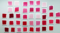 Betsy Kaufman, A Story of Red, 2013, acrylic on wood panels, 39 units. COURTESY OF LESLIE TONKONOW ARTWORKS + PROJECTS