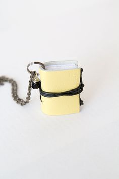 Miniature book necklace mini book jewelry, eco friendly leather book pendant, blank book lover, literature jewelry, leather journal by BrotherWorks