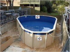 Unique Semi Inground Pools and Their installation : Small Semi Inground Pool  Grey Metallic Fence Water Hose