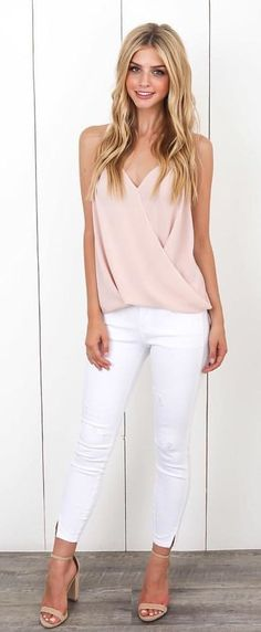 #summer #outfits Blush Top + White Skinny Jeans