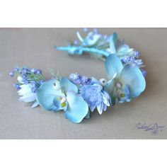 Beach bridal crown Light blue wedding flower crown Orchid hair Wreath... (100 AUD) ❤ liked on Polyvore featuring dresses