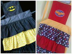 Batman or Wonder Woman Apron for Girls by EmeraldBelleDesigns