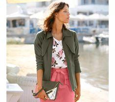 Sako na zips Jean Délavé, Military Jacket, Blazer, Jackets, Outfits, Women, Style, Products, Fashion