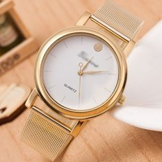 Simple-Fashion-Women-Classic-Analog-Stainless-Steel-Quartz-Wrist-Watch-Golden Watch Case, Stainless Steel Bracelet, Simple Style, Watch Bands, Gold Watch, Quartz, Luxury, Classic, Womens Fashion