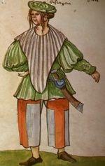 """Unmarried man. """"Trachtenbuch de Christoph Weiditz von seinen teisen nach Spanien (1529)und den Niederlandeden (1531/32)"""""""