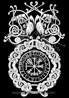HULDUKÖTTR - Norse and Germanic Art: Vegvisir and Ravens T shirt