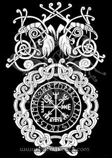 HULDUKÖTTR - Norse and Germanic Art: Vegvisir and Ravens T shirt