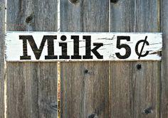 vintage kitchen signs | to Order - Vintage Style Milk 5 Cents Rustic Wooden Sign - Kitchen ...