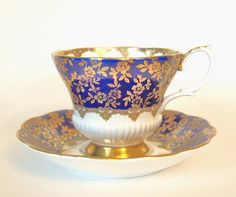 Vintage Tea cup Set Royal Albert Teacup and Saucer Cobalt Blue and Gold Consort Series Fine Bone China Tea cup and Saucer - England