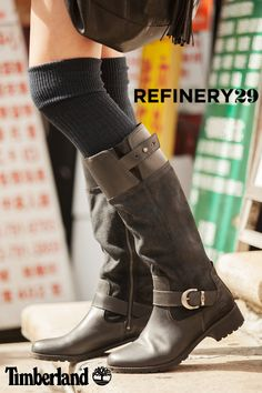 Leather and suede - Timberland Bethel Buckle Tall Boot (Photo credit: Marc Iantosca; @refinery29)
