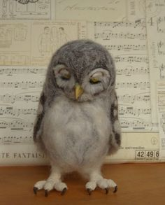 Sleepy Baby Owl, handmade, needle-felted wool owl by Helen Priem