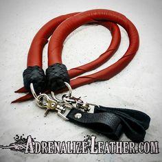 Custom ordered red cowhide finger loop dragontail set. Order yours at www.adrenalizeleather.com #kink #fetish #leather #toys #gear #sale #bondage
