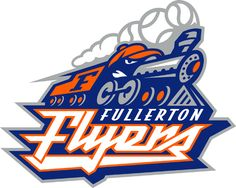 The Fullerton (California) FLYERS, a defunct independent minor league baseball team. A racing train locomotive, with a face where the cab should be and, smoke-baseballs coming out of the smokestack! Hockey Logos, Sports Team Logos, Team Logo Design, Logo Face, Sports Decals, Esports Logo, Team Mascots, Minor League Baseball, Express Logo