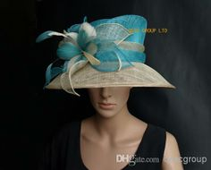 turquoise blue/beige Sinamay Hats with Feather Flower for church/wedding/races/Kentucky derby.FREE SHIPPING.