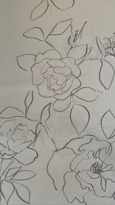 Flower Line Drawings, Bloom, Contemporary, Rugs, Flowers, Decor, Art, Rose Bush, Sketch