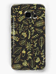 Gold Autumn Pattern Samsung Galaxy Cases by Anastasia Shemetova #faerieshop #gold #drawing #fall #autumn #berry #rowan #leaves #pattern #bright #golden #branch #gloss #blue #season #foliage #contour #acorns #maple #oak #line #nature #art #sale #redbubble #accessories #case #phone