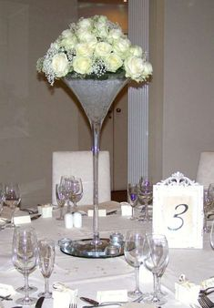 martini glass with roses and jip
