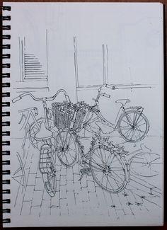 Bicycles in Amsterdam. Sketch in gel pen. By Larissa Sladkova