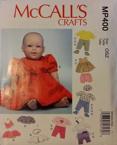 "McCalls Pattern M7066 / MP400 CLOTHES & ACCESSORIES 11""-12"" and 15""-16"" DOLLS"